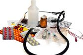 Still life of medical items used by doctors to treat — Stock Photo