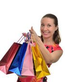 Happy woman smiling, enjoying shopping — Stock Photo