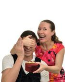 Happy woman doing a surprise gift to the beloved — Stock Photo