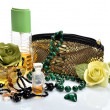 Стоковое фото: Items for decorative cosmetics, makeup, mirror and flowers