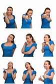 Mosaic Collage of various facial expressions and emotions — Stock Photo