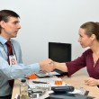 Doctor congratulates of the patient and rejoices the successful healing — Stock Photo