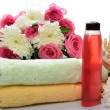 Stock Photo: Towels, objects for spbaths and saunas, flowers