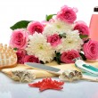 Stock Photo: Objects for body care, spand sauna, flowers and mirror