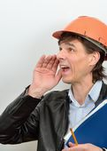 Screaming chief construction foreman — Stock Photo