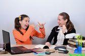 Teen schoolgirl jokes, teasing teachers — Stockfoto