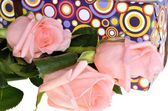 Three beautiful pink roses for a gift on a holiday — Stock Photo