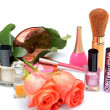 Items woman are used makeup and cosmetics, cosmetic bag and  roses — Stock Photo #46750047