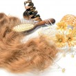 Artificial hair and accessories: comb, barrette for women hairstyles in still life — Stock Photo #46750057