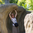 Woman at the zoo — Stock Photo