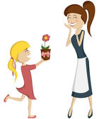 Surprise Mom (colorful and detailed with a blonde girl)! — Stock Vector