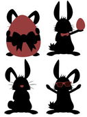 Big Bunny Collection - Silhouettes of funny male rabbits — Vetorial Stock