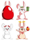 Big Bunny Collection - Sweet female rabbit mascots — Stock Vector