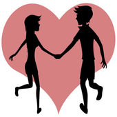 Happy running couple (silhouette) — Stock Vector
