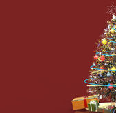 Christmas Tree With Presents - Right Side - Red Background — Stock Photo