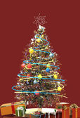 Christmas Tree With Presents - Close Up - Red Background — Stock Photo