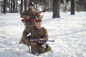 Soldiers in winter — Stock Photo