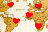 Hearts and world map — Foto de Stock