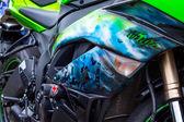 Airbrush on sport bike — Stock Photo