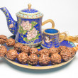 Chinese Cloisonne tea with zen. — Stock Photo