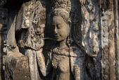 Aspara art of angkor wat temple ruins camboida — Stock Photo