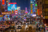 Hong Kong, China - March 16, 2013: Street Scene in Mongkok. Colorful shopping street Illuminated at night. Mongkok is a district in Hong Kong and has the highest population density in the world — Stock Photo