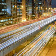 Traffic through city at night in Hong Kong — Stock Photo