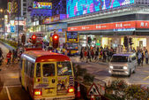 Hong Kong, China - January 01, 2014: Street Scene in Mongkok. Colorful shopping street Illuminated at night. Mongkok is a district in Hong Kong and has the highest population density in the world — Stock Photo