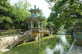 Chinese Pagoda Pavilion with river foreground — Stock Photo