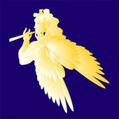 Angel playing the flute-vector illustration — Stockvektor