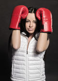 Beautiful girl in Boxing gloves — Photo