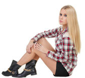 A beautiful young girl in a shirt and shoes — Stock Photo