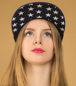 Portrait of a young girl in baseball cap  — Foto de Stock