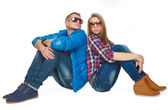 Beautiful guy and girl in sunglasses  — Stok fotoğraf
