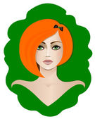 Red-haired girl with green eyes — Stock Vector