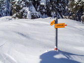 Val Blenio. Signposts on the path in the snow — Stockfoto