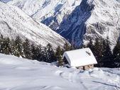 Val Blenio. snowy path — Stockfoto