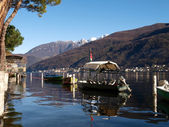Switzerland - Lake of Lugano. Boat at Morcote. — ストック写真