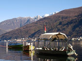 Switzerland - Lake of Lugano. Boat at Morcote. — Stockfoto