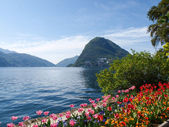 View of the Gulf of Lugano — Foto de Stock