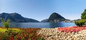 Monte san salvatore sett från parken — Stockfoto