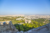 Athens. View of city and Areopagus rock from Acropolis — Stok fotoğraf
