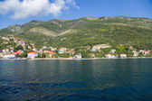 Montenegro. Town on the banks of the Bay of Kotor — Stock Photo