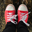 Stock Photo: Red shoes with white laces