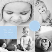 Collage of black-and-white baby's photos — Stock Photo