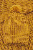 Mustard knitted wool hat and scarf — Stock Photo