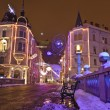 Decorated streets of Ljubljana at the Triple bridge at Christmas time — Stock Photo