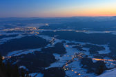 Villages and cities in the evening after the sunset — Stock Photo