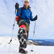 Stock Photo: Mountaineer arriving at top