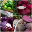 Avocado, red cabbage, red radish and beetroot — Stock Photo